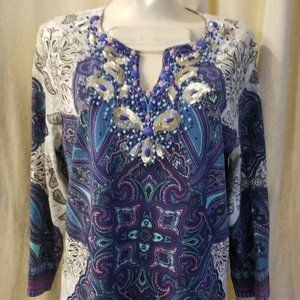 Chicos Womens Embellished Beaded Tunic Top Blouse